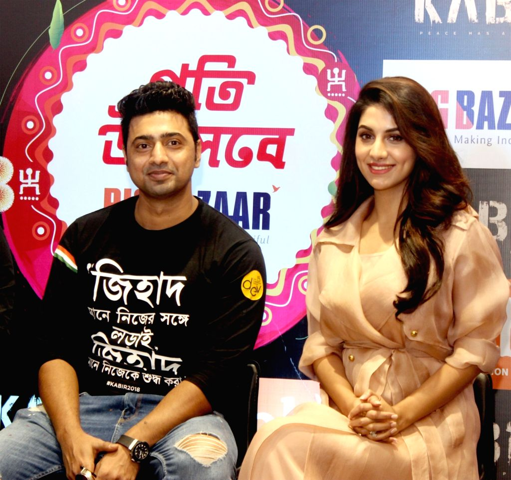 "Actor Dev along with his wife Rukmini Maitra during the promotion of Bengali film ""Kabir"" in Kolkata on April 6, 2018. - Dev"