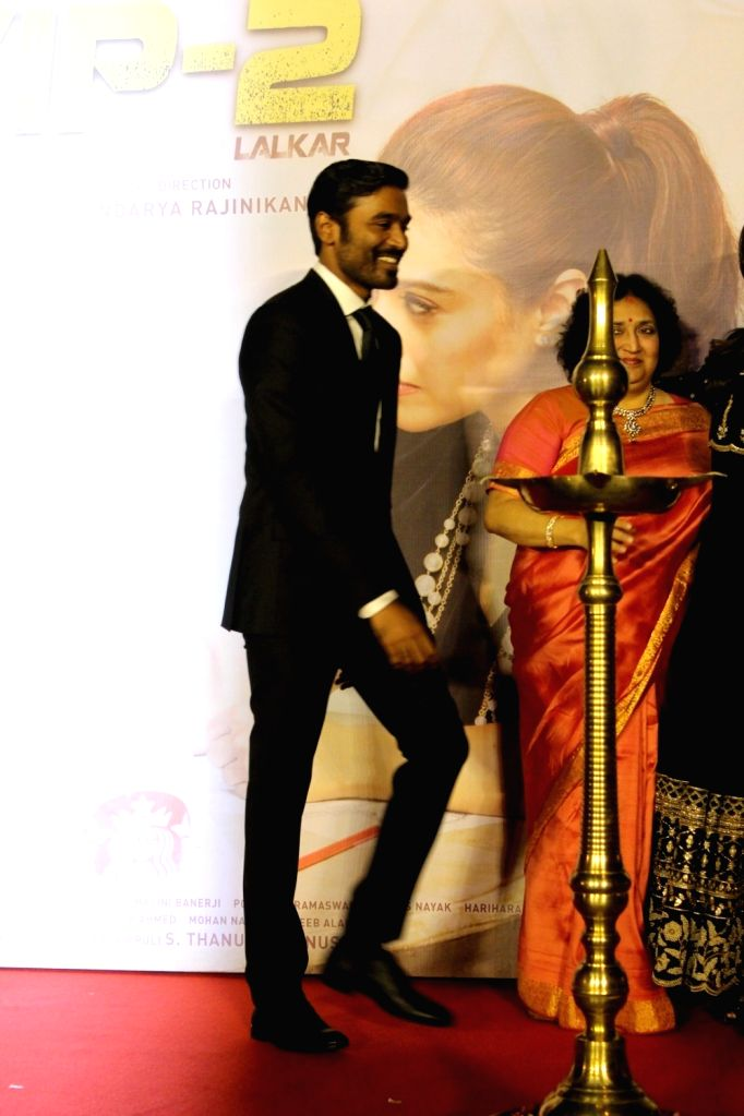 Actor Dhanush during the music launch of film VIP 2 in Mumbai, on June 25, 2017. - Dhanush