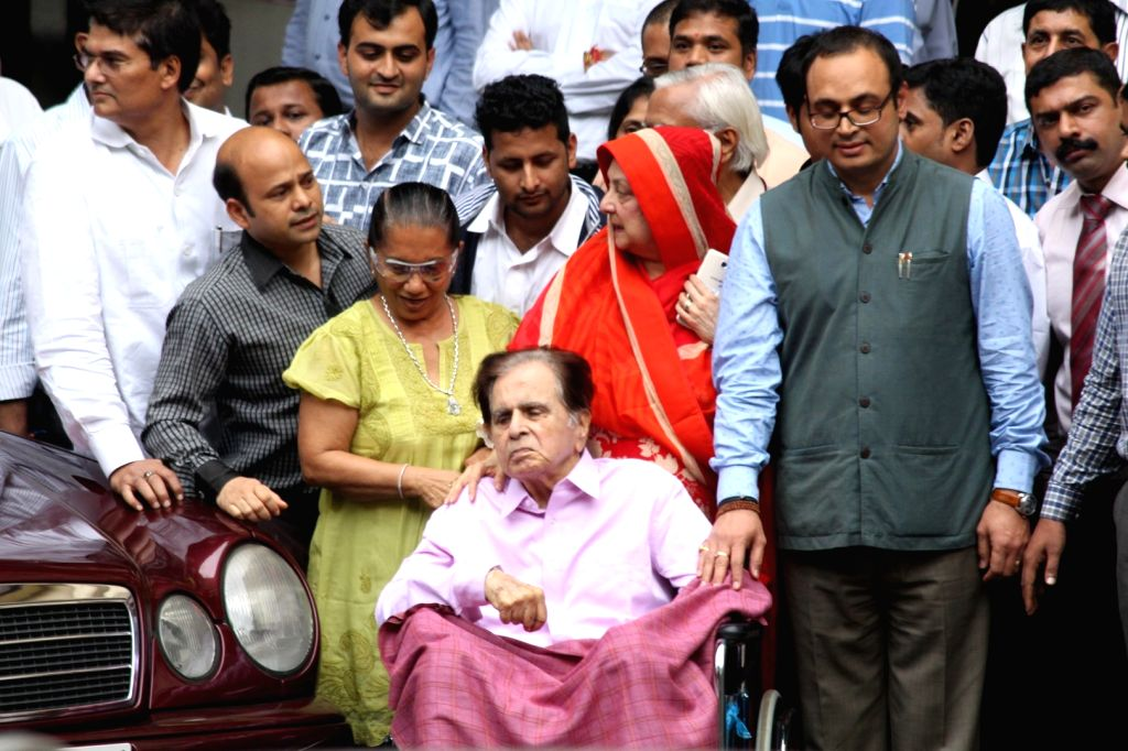 Actor Dilip Kumar along with his wife Saira Banu leave Mumbai's Lilavati Hospital after being discharged in Mumbai on Aug 9, 2017. He was treated for dehydration and kidney malfunction. - Dilip Kumar