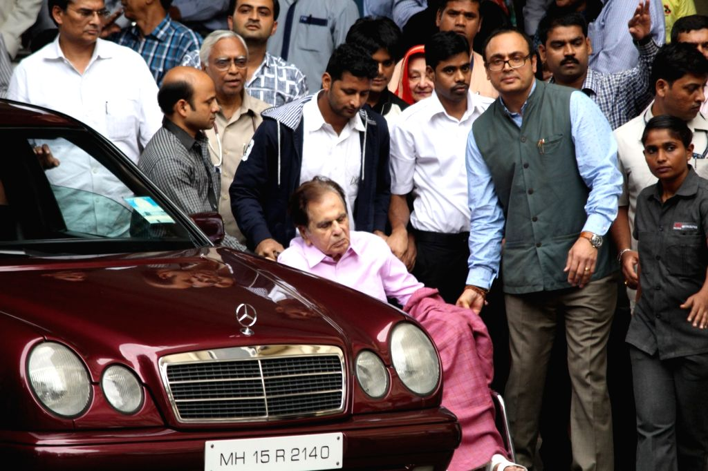 Actor Dilip Kumar leaves Mumbai's Lilavati Hospital after being discharged in Mumbai on Aug 9, 2017. He was treated for dehydration and kidney malfunction. - Dilip Kumar