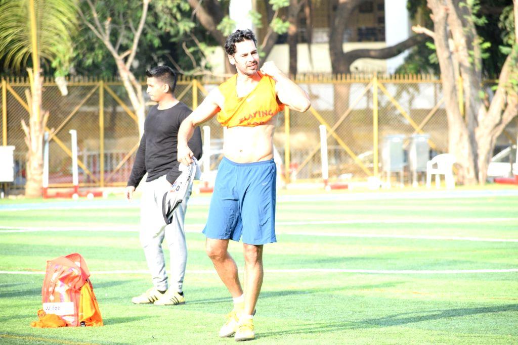 Actor Dino Morea during a football match at Juhu in Mumbai, on May 26, 2019. - Dino Morea
