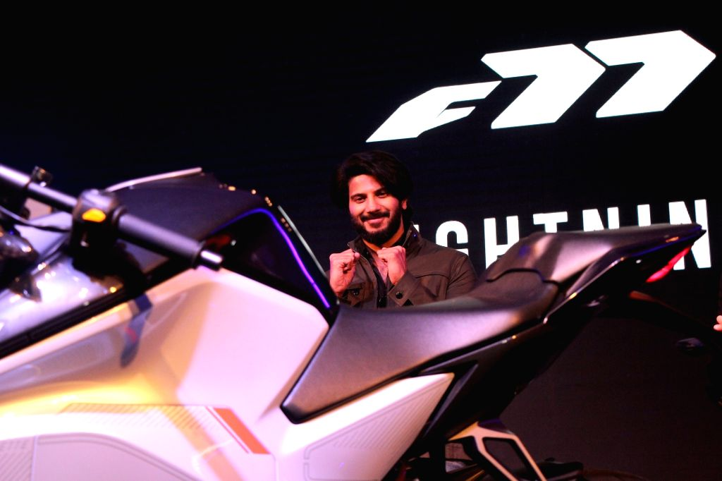 Actor Dulquer Salmaan at the launch of Ultraviolette Automotive F77 electric motorcycle in Bengaluru on Nov 13, 2019. - Dulquer Salmaan