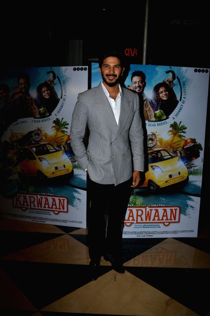 "Actor Dulquer Salmaan at the special screening of his upcoming film ""Karwaan"", in Mumbai on Aug 2, 2018. - Dulquer Salmaan"