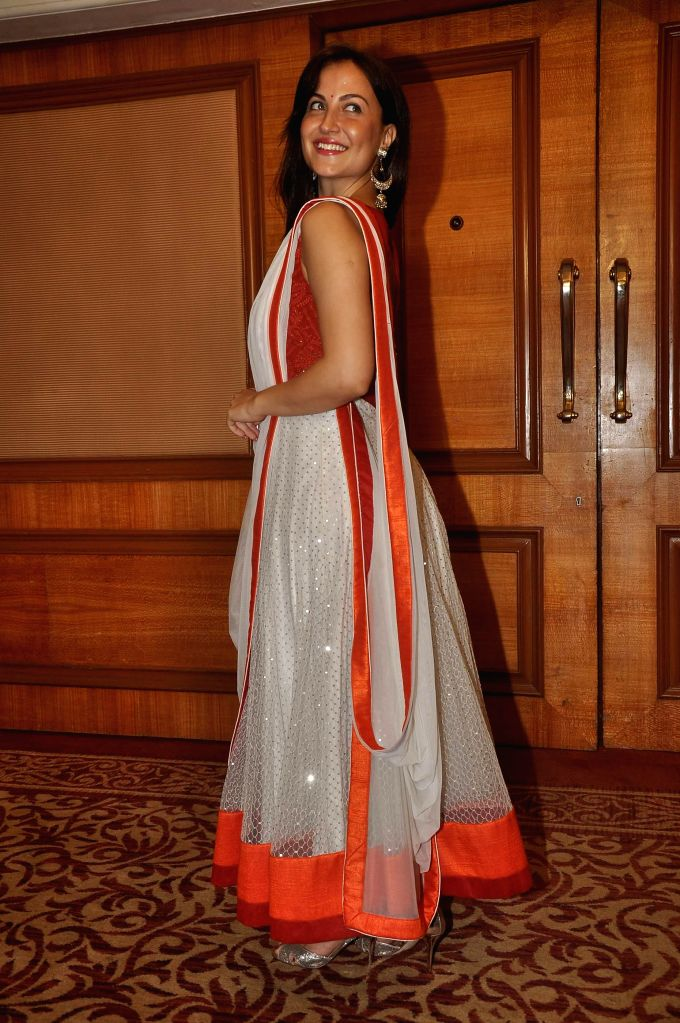 Actor Elli Avram during the launch of Indian National Anthem video, in Mumbai on Aug 15, 2014. - Elli Avram