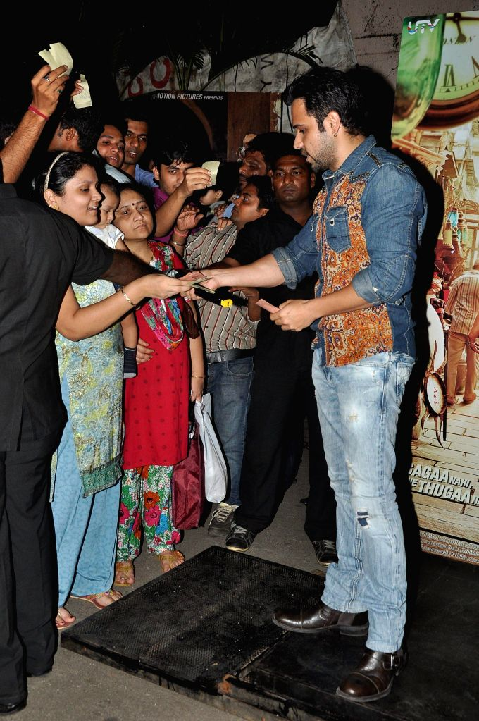Actor Emraan Hashmi selling the tickets of film Kick at the suburban multiplex Gaiety in Mumbai as a part of Raja Natwarlal`s promotions in Mumbai on 27, July 2014.