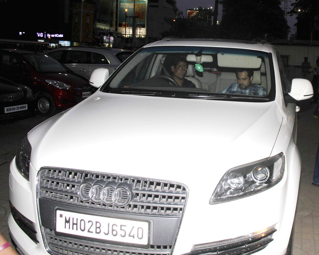 Actor Emraan Hashmi spotted with his Audi Q7 car at PVR ECX in Mumbai on August 10, 2014.