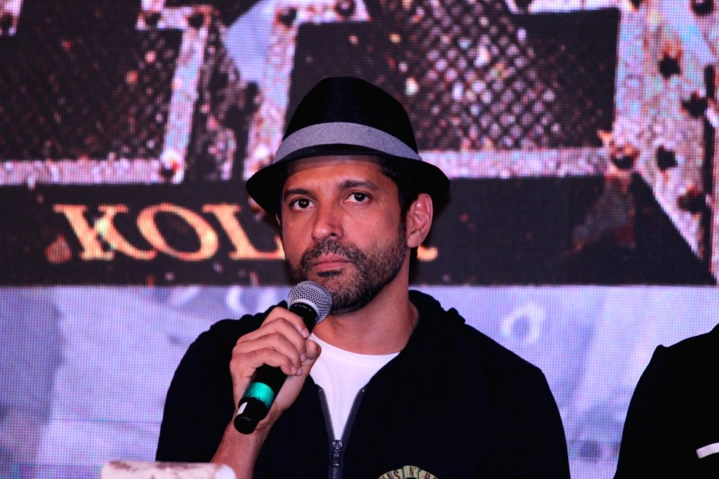 "Actor Farhan Akhtar addresses at the trailer launch of his upcoming film ""K.G.F"" in Mumbai, on Dec 5, 2018. - Farhan Akhtar"