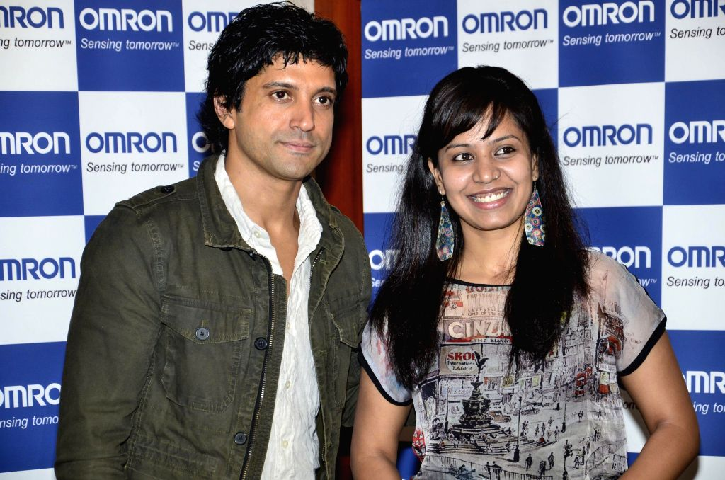 Actor Farhan Akhtar at a promotional event organised by Healthcare brand Omron in Mumbai on April 17, 2014.