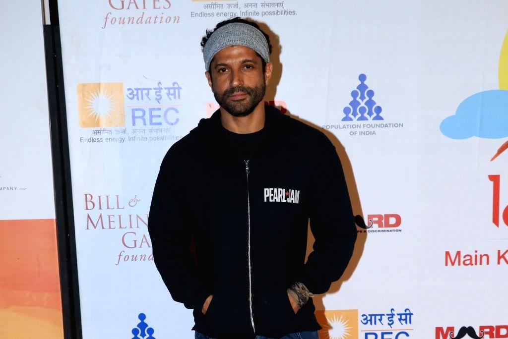 """Actor Farhan Akhtar at """"Lalkaar- Main Kuch Bhi Kar Sakti Hoon"""" concert organised by him in Mumbai on Feb 14, 2019. - Farhan Akhtar"""