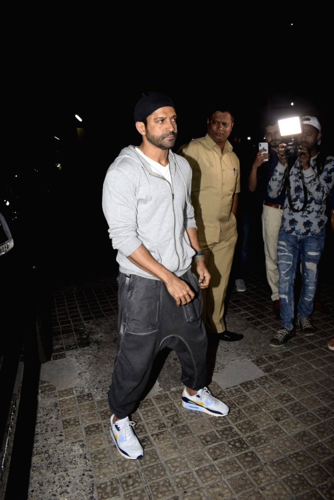 "Actor Farhan Akhtar at the special screening of upcoming film ""Gully Boy"" in Mumbai, on Feb 13, 2019. - Farhan Akhtar"