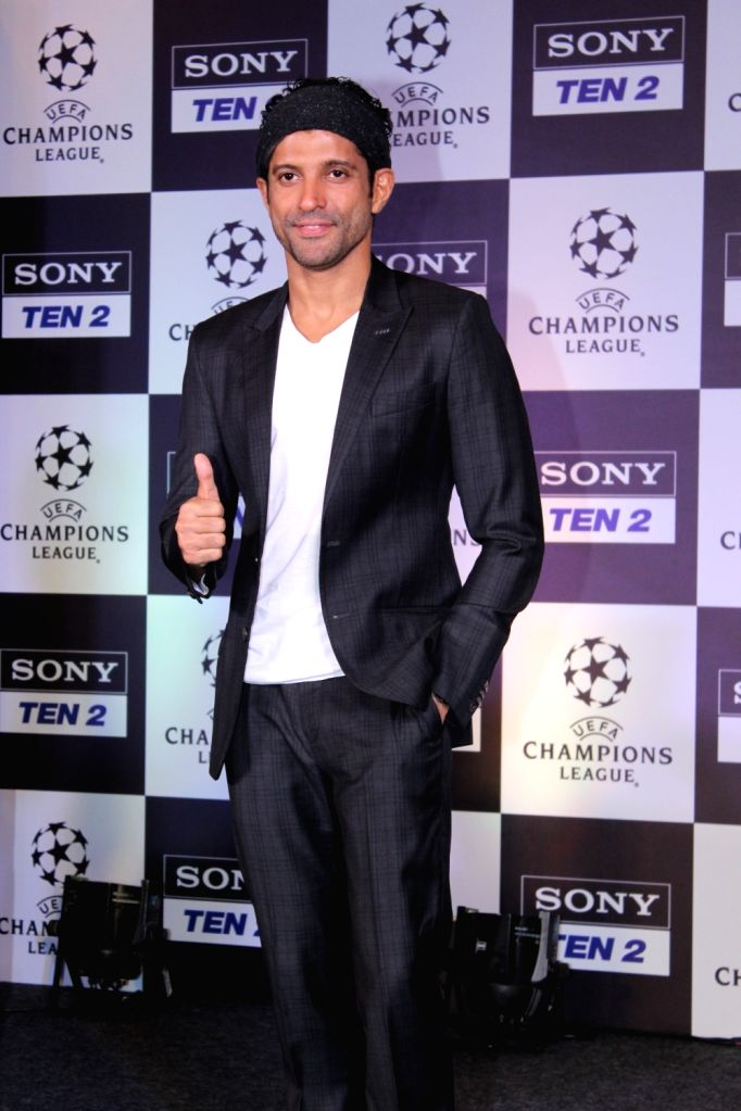 Actor Farhan Akhtar during a programme, regarding the ongoing UEFA Champions League, in Mumbai, on May 6, 2019. - Farhan Akhtar
