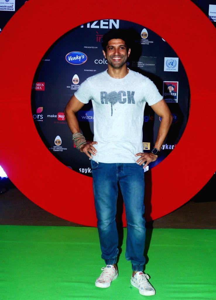 Actor Farhan Akhtar during the Global Citizen Festival India 2016, in Mumbai on Nov 19, 2016. - Farhan Akhtar