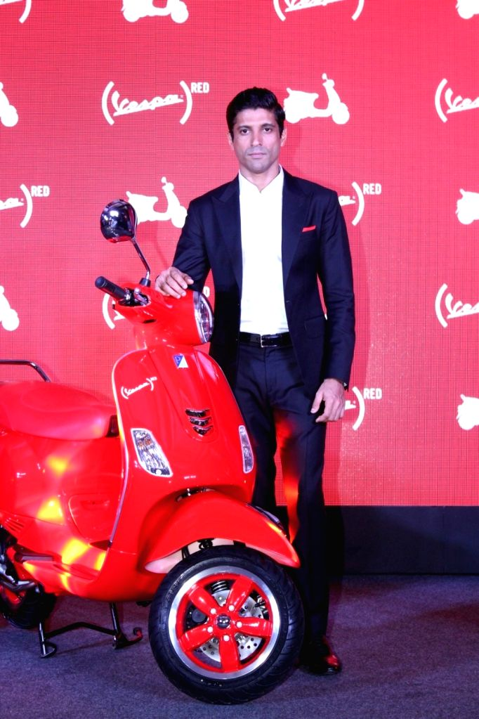 Actor Farhan Akhtar during the launch of Vespa Red in Mumbai on Oct 3, 2017. - Farhan Akhtar