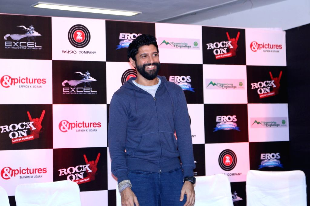Actor Farhan Akhtar during the music launch of the movie Rock On 2 in Mumbai on Sept. 17, 2016. - Farhan Akhtar