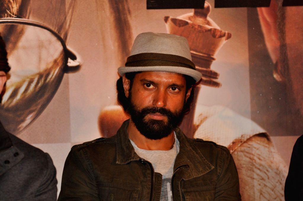Actor Farhan Akhtar during the trailer launch of film Wazir in Mumbai on Nov 18, 2015. - Farhan Akhtar