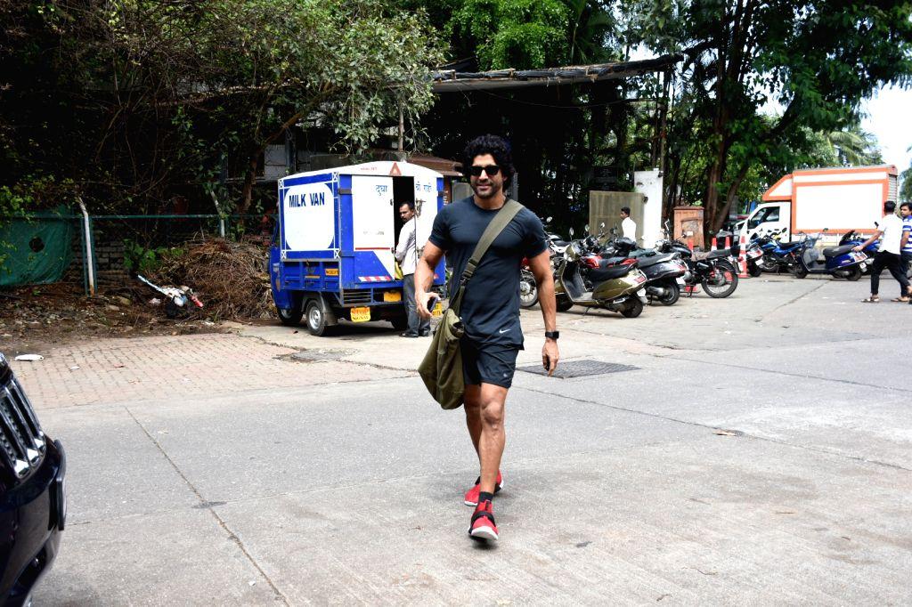 Actor Farhan Akhtar seen in Mumbai on Oct 2, 2019. - Farhan Akhtar