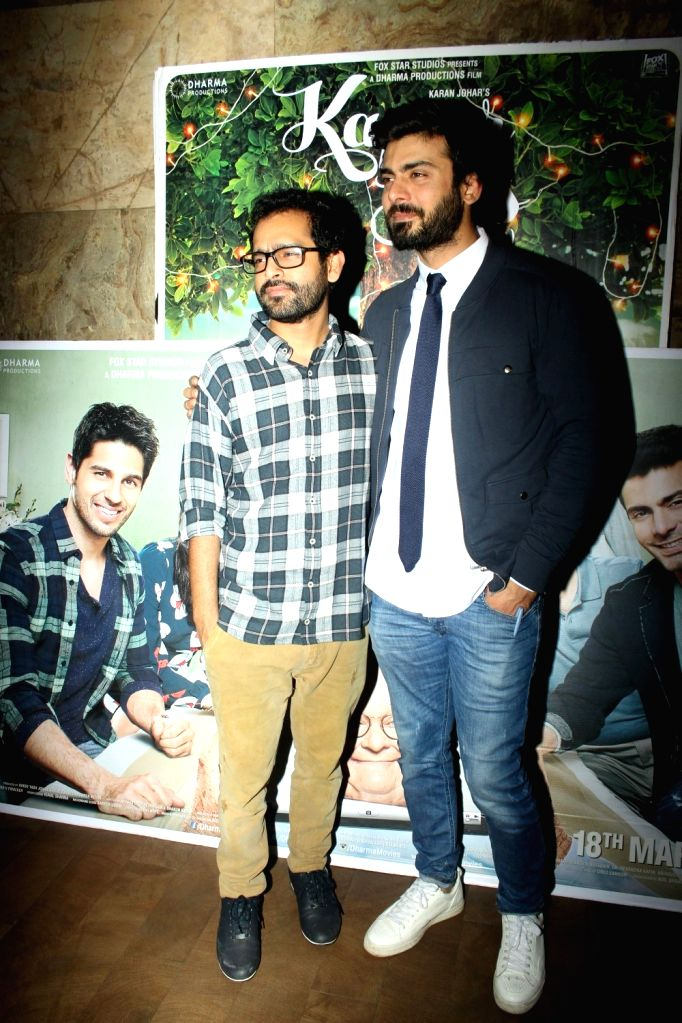 Actor Fawad Khan and filmmaker Shakun Batra during the screening of film Kapoor and Sons in Mumbai, on March 17, 2016. - Fawad Khan