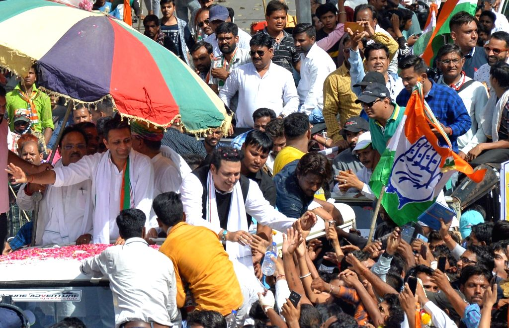 Actor Govinda campaigns for Congress candidate for Ajmer Lok Sabha constituency Riju Jhunjhunwala in Ajmer, on April 27, 2019. - Govinda