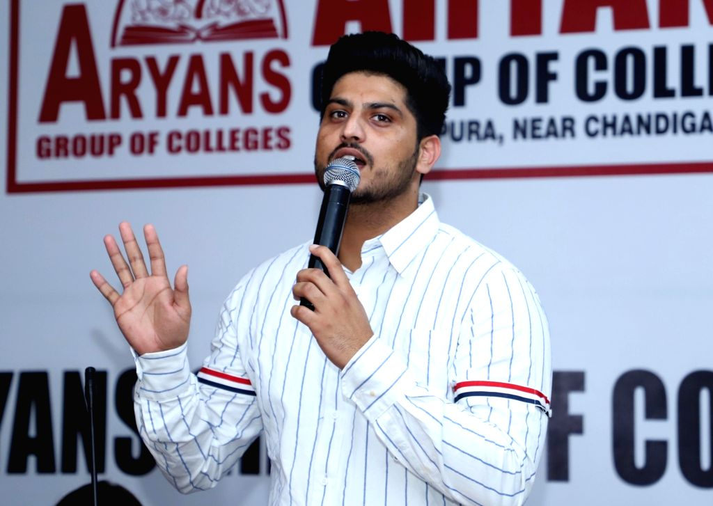 "Actor Gurnam Bhullar addresses during the promotions of his upcoming film ""Surkhi Bindi"" in Amritsar, on Aug 28, 2019. - Gurnam Bhullar"
