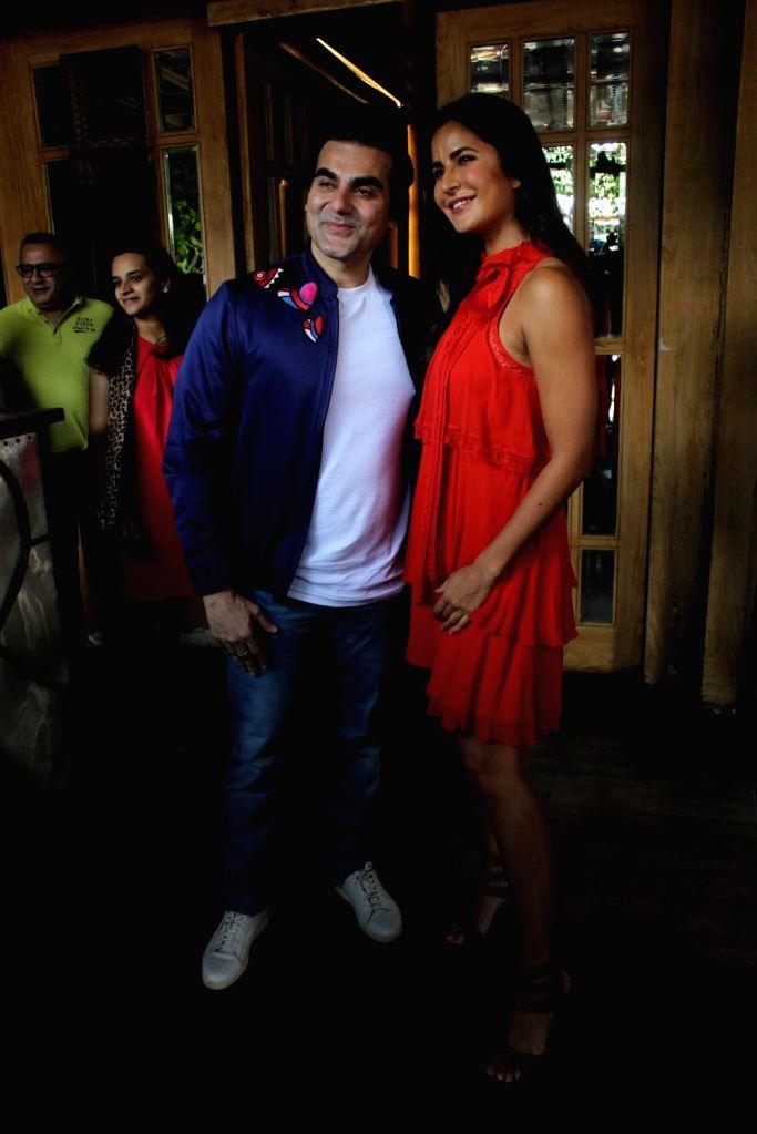 "Actor-host Arbaaz Khan with actress Katrina Kaif on the sets of his talk show ""Pinch"", in Mumbai, on April 15, 2019. (Photo : IANS) - Katrina Kaif and Arbaaz Khan"