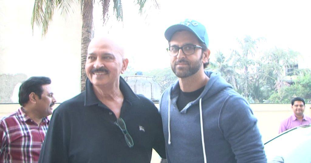 "Actor Hrithik Roshan and filmmaker Rakesh Roshan during the screening of film ""Kaabil"" in Mumbai, on Jan 23, 2017. - Hrithik Roshan and Rakesh Roshan"