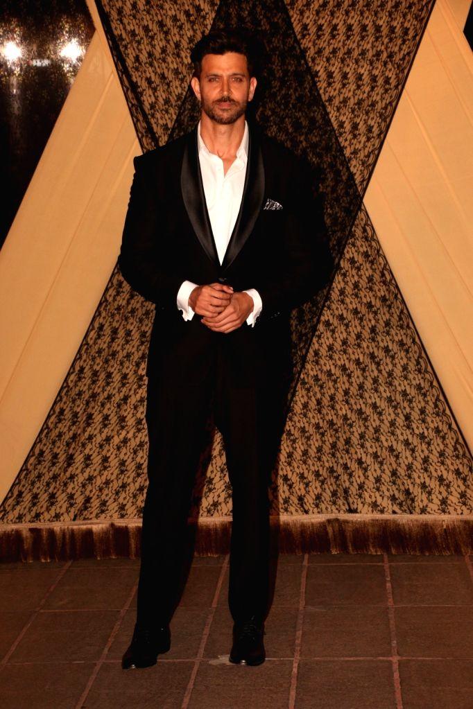 Actor Hrithik Roshan at the wedding reception of director Mukesh Bhatt and Nilima Bhatt's daughter Sakshi Bhatt in Mumbai, on 25, 2019. - Hrithik Roshan