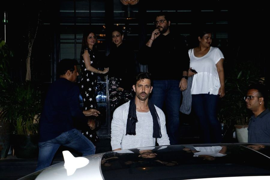 Actor Hrithik Roshan celebrates his birthday with ex-wife Sussanne Khan, actress Sonali Bendre and Goldie Behl in Mumbai on Jan 10, 2019. - Hrithik Roshan and Sussanne Khan
