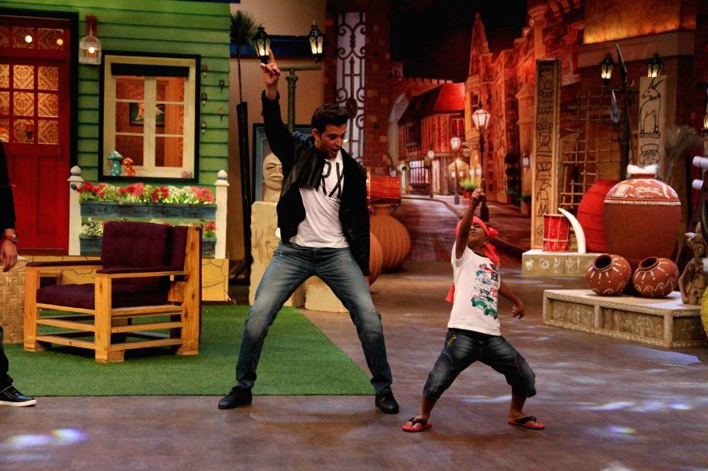 Actor Hrithik Roshan during the promotion of film Mohenjo Daro on the sets of The Kapil Sharma Show in Mumbai, on Aug 2, 2016. - Hrithik Roshan