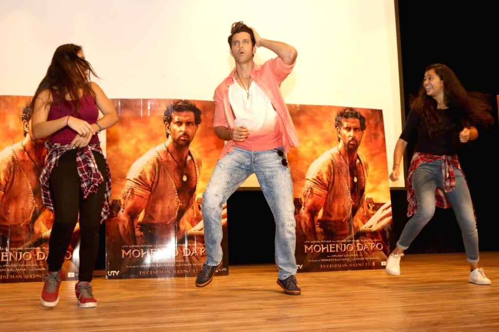 "Actor Hrithik Roshan during the promotion of his upcoming film ""Mohenjo Daro"" at Gargi College in New Delhi, on Aug 5, 2016. - Hrithik Roshan"