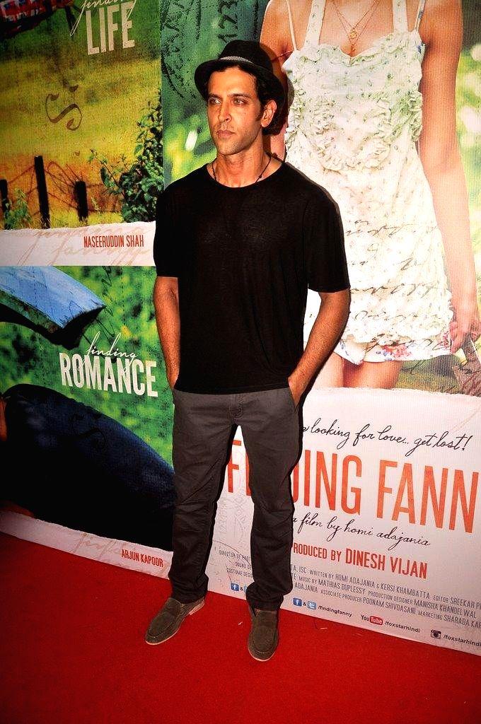 Actor Hrithik Roshan during the screening of film Finding Fanny, in Mumbai, on Sep. 01, 2014. - Hrithik Roshan