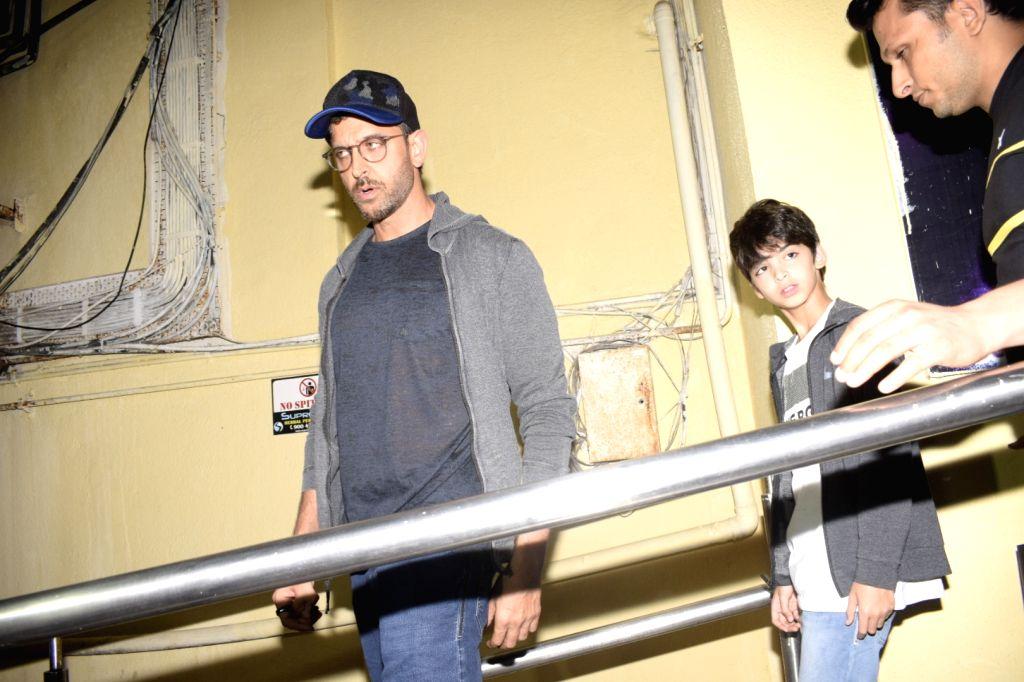 Actor Hrithik Roshan with his son Hridhaan Roshan at Mumbai's PVR Juhu on Dec 2, 2018. - Hrithik Roshan and Hridhaan Roshan