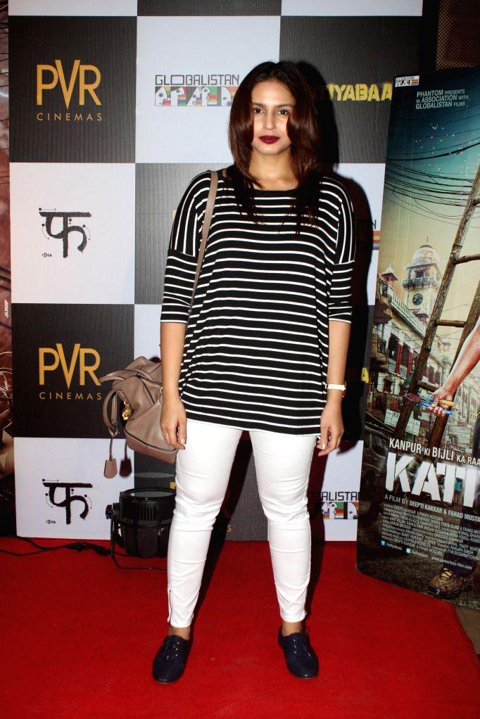 Actor Huma Quresh during the screening of the film Katiyabaaz in Mumbai, on Aug. 20, 2014. - Huma Quresh
