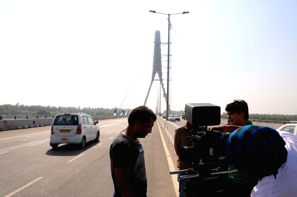 "Actor Imran Zahid busy shooting for his upcoming film ""Marksheet"" at the Signature bridge in New Delhi on May 20, 2019. - Imran Zahid"