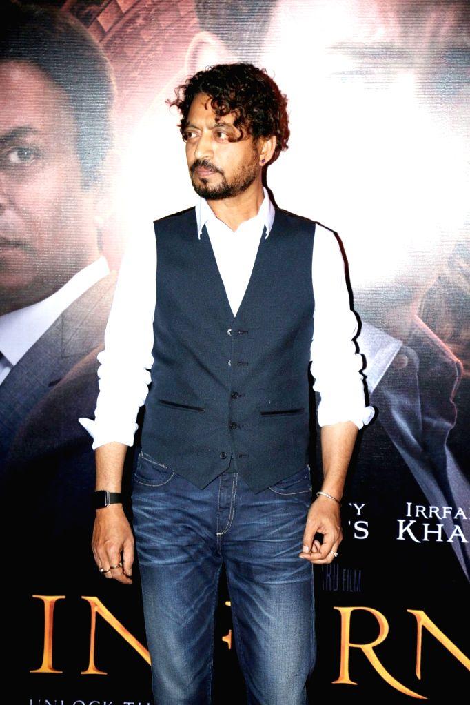Actor Irfan Khan during the screening of film Inferno in Mumbai on Oct 12, 2016. - Irfan Khan