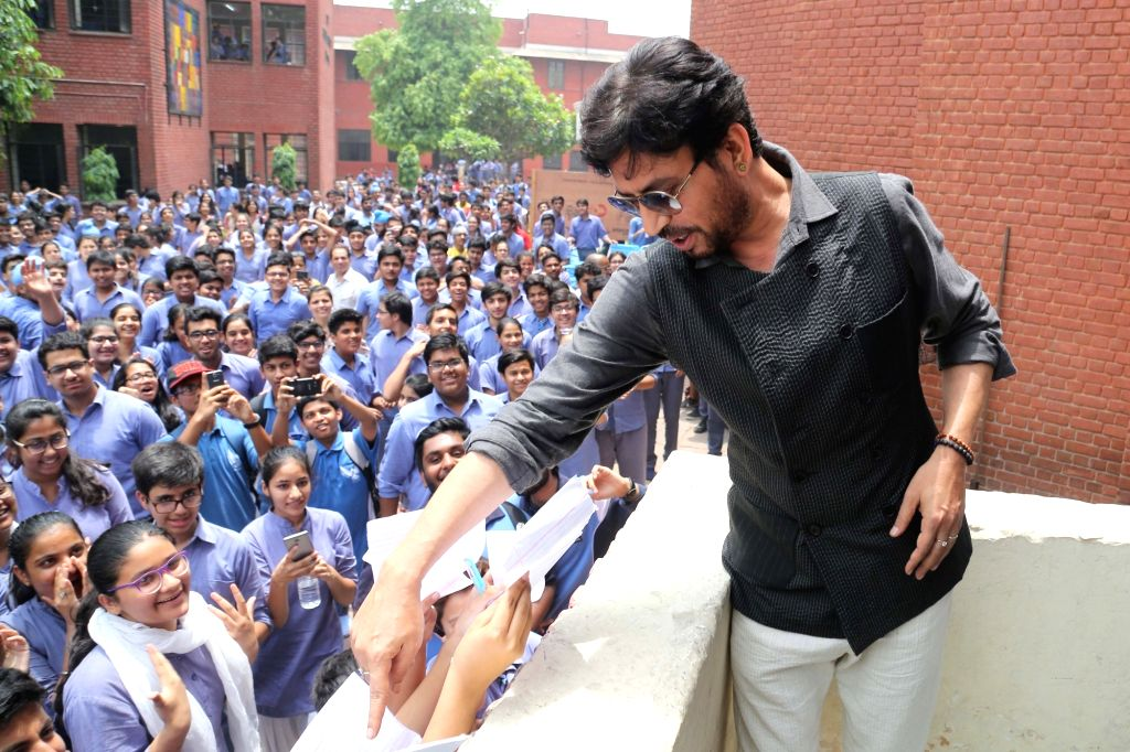 """Actor Irrfan Khan at a promotional event of his film """"Hindi Medium"""" at a school, in New Delhi on May 12, 2017. - Irrfan Khan"""