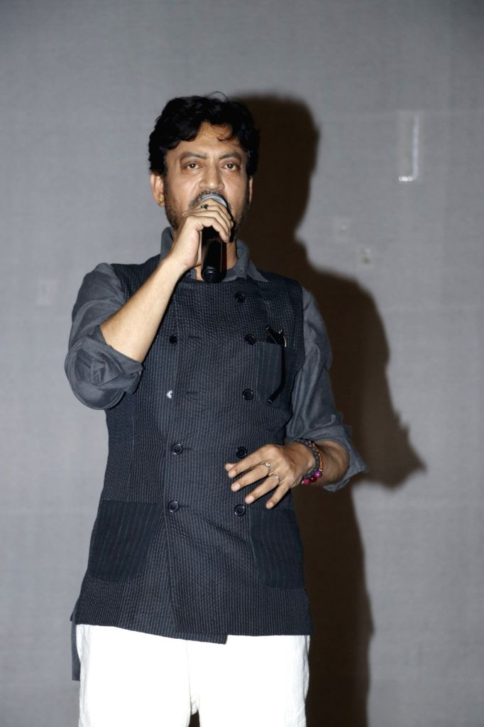 """Actor Irrfan Khan during a programme organised to promote film """"Hindi Medium"""" in New Delhi on May 12, 2017. - Irrfan Khan"""