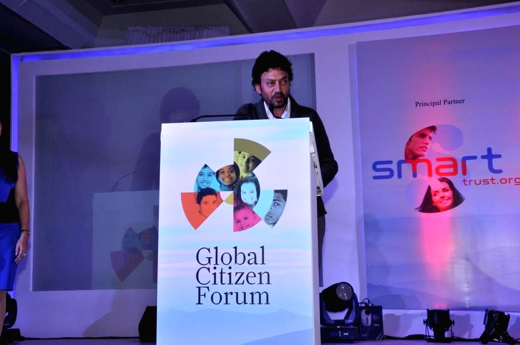 Actor Irrfan Khan during the Global Conclave organised in New Delhi on Jan.3, 2014. - Irrfan Khan