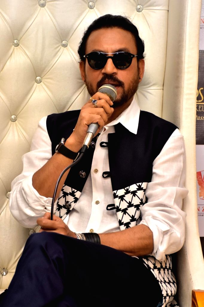 """Actor Irrfan Khan during the press conference to promote his upcoming film """"Madaari"""" in Jaipur, on June 29, 2016. - Irrfan Khan"""
