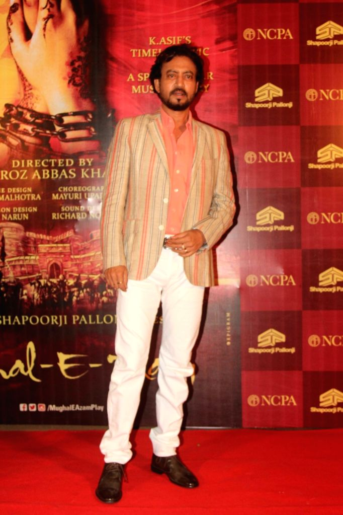 Actor Irrfan Khan during the red carpet of musical play Mughal E Azam, in Mumbai,  on Oct 21, 2016. - Irrfan Khan