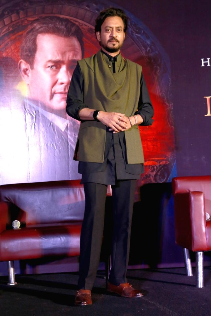 """Actor Irrfan Khan launches trailer of upcoming film Hollywood film """"Inferno"""", in New Delhi, on Oct 4,2016. - Irrfan Khan"""