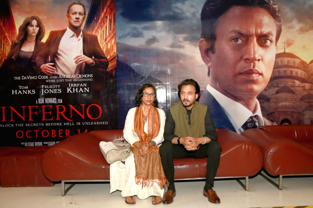 """Actor Irrfan Khan launches trailer of upcoming film Hollywood film """"Inferno"""", in New Delhi, on Oct 4,2016. Also seen Irrfan's wife Sutapa Sikdar. - Irrfan Khan"""