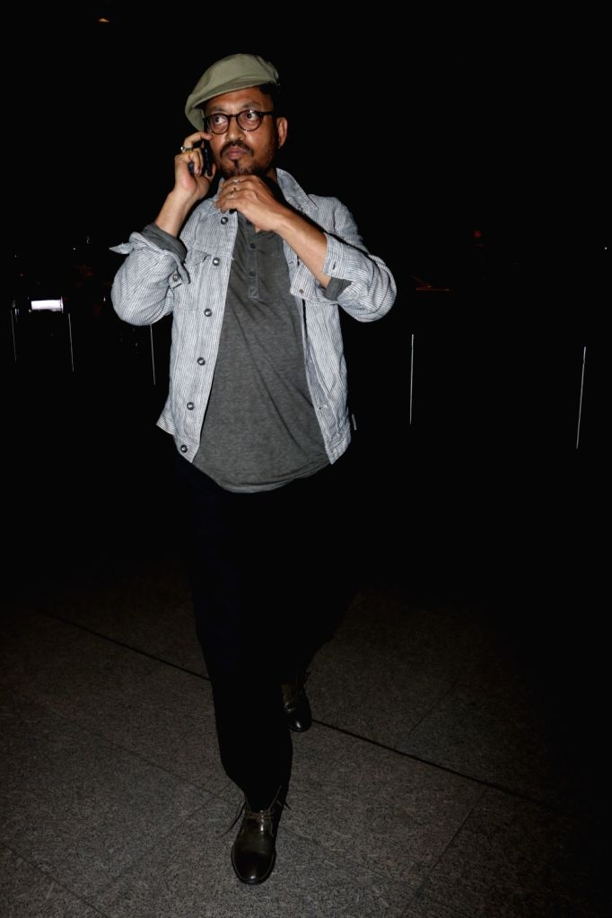 Actor Irrfan Khan seen at Chhatrapati Shivaji Maharaj International airport in Mumbai on Oct 12, 2017. - Irrfan Khan
