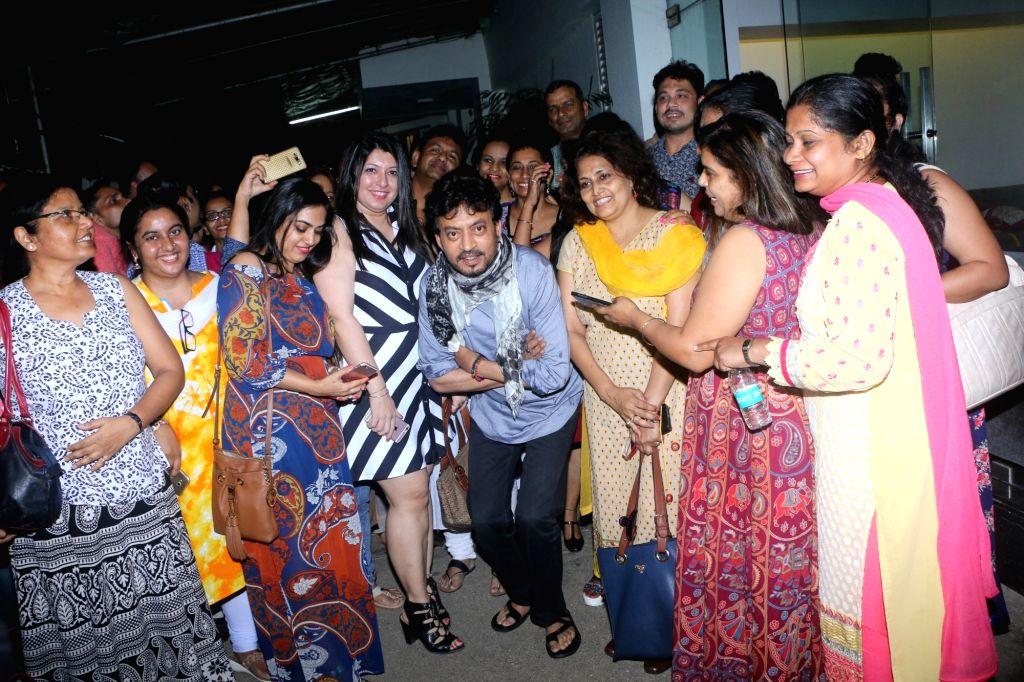 Actor Irrfan Khan with Hindi teachers during the special screening of film Hindi Medium in Mumbai, on May 15, 2017. - Irrfan Khan