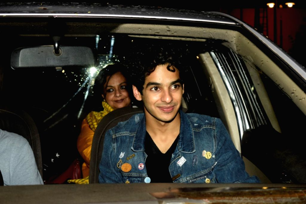 "Actor Ishaan Khatter with his mother Neelima Azeem at the special screening of film ""Dhadak"" in Mumbai on July 19, 2018. - Ishaan Khatter"