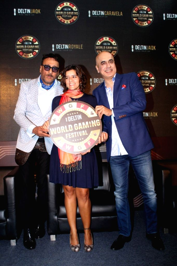 """Actor Jackie Shroff during the launch of """"Deltin World Gaming Festival"""" in Mumbai on Oct 11, 2017. - Jackie Shroff"""