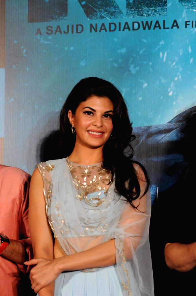 Actor Jacqueline Fernandes during the trailer launch of the film Kick in Mumbai on June 15, 2014. - Jacqueline Fernandes