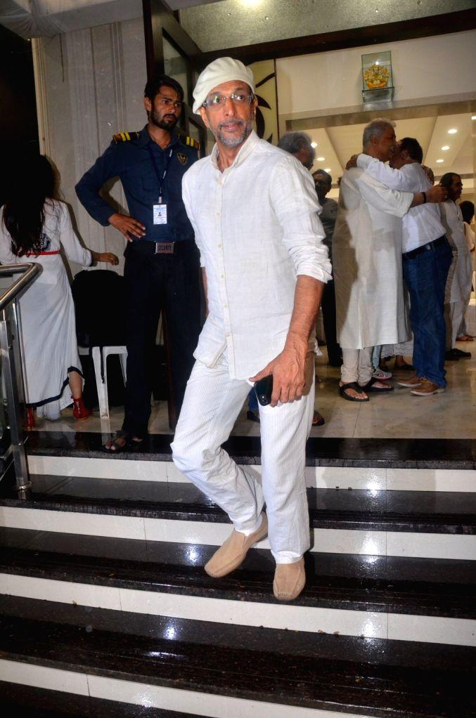 Actor Javed Jaffrey attand late Director Kundan Shah's prayer meet in Mumbai on Oct 10, 2017. - Javed Jaffrey and Kundan Shah