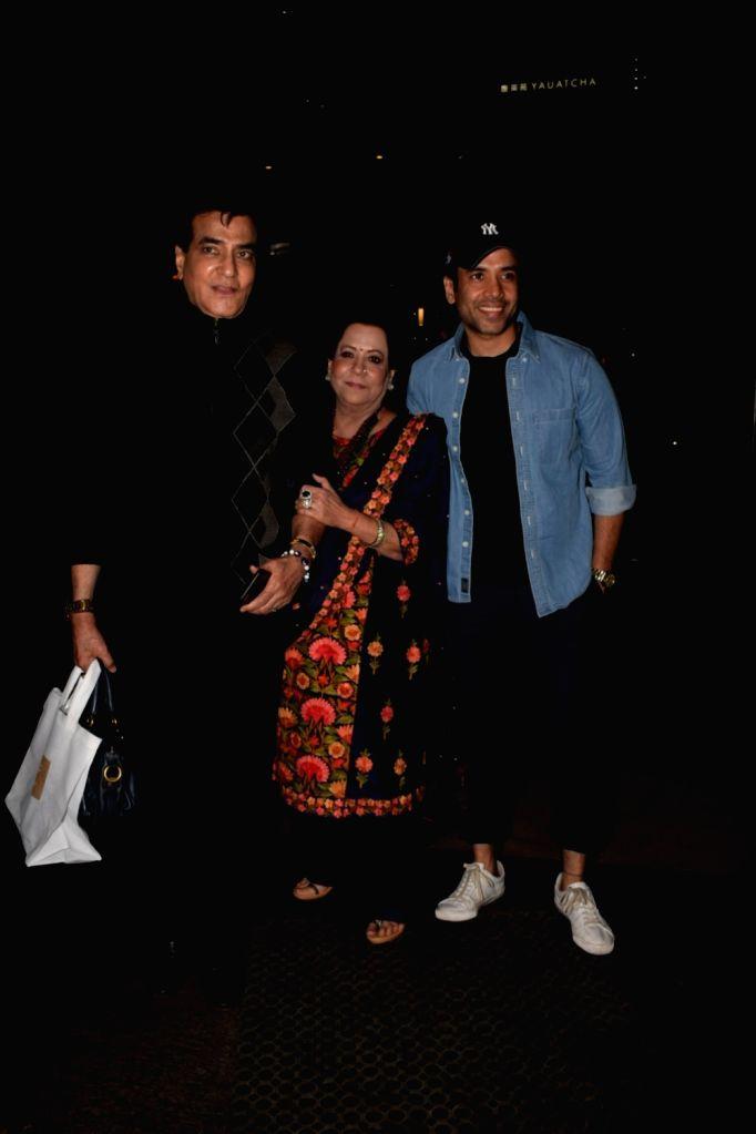Actor Jeetendra along with his wife Shobha Kapoor and son Tusshar Kapoor at Ekta Kapoor's birthday celebration in Mumbai on June 7, 2018. - Jeetendra, Shobha Kapoor, Tusshar Kapoor and Ekta Kapoor