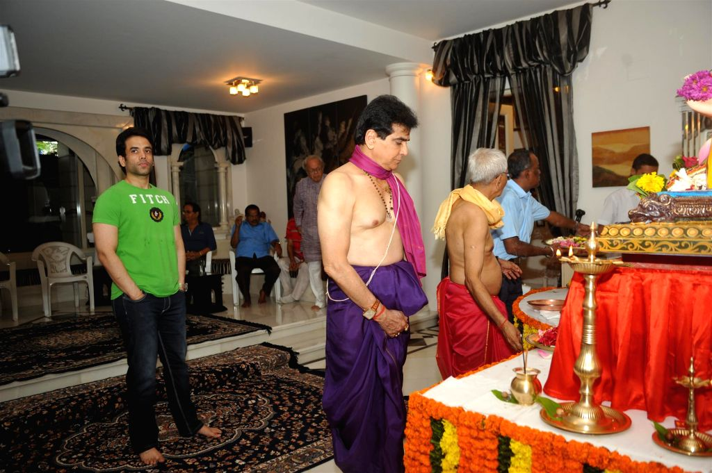 Actor Jeetendra with family during the Ganesh Chaturthi celebrations at his residence in Mumbai on Aug 29, 2014.