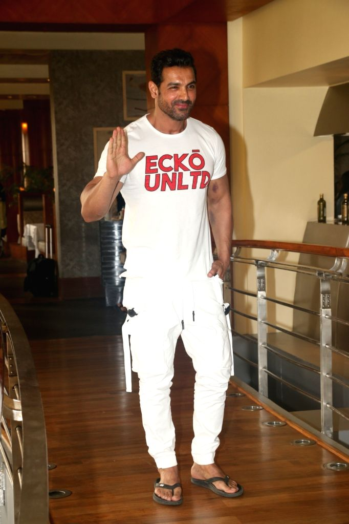 "Actor John  Abraham at media interaction during the promotions of his upcoming film ""Pagalpanti"" in Mumbai on Nov 5, 2019. - John"